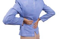 Dolor de estómago de la mujer. Foto de archivo