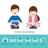 Dolor de estómago del muchacho y de la muchacha porque intoxicación alimentaria Fotografía de archivo