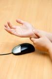 Dolor de la mano del ratón Imagen de archivo