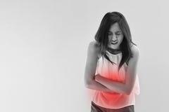 Dolor de la menstruación o dolor de estómago Imagen de archivo libre de regalías