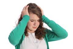 Dolor de la muchacha tensionada del adolescente en la desesperación Foto de archivo