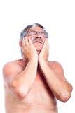 Dolor de muelas del hombre mayor Fotos de archivo libres de regalías