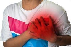 Dolor de pecho del hombre del reflujo ácido o del ardor de estómago, aislado en el fondo blanco fotografía de archivo