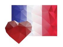 Dolor del amor del corazón de la bandera de Francia Imágenes de archivo libres de regalías