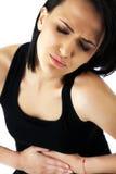 Dolor del stomachache de la mujer Fotografía de archivo