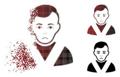 Dolor Dispersed Pixel Halftone Awarded Man Icon. Pitiful awarded man icon in dispersed, dotted halftone and undamaged whole variants. Fragments are grouped into royalty free illustration