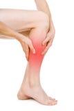 Dolor en las piernas, individuo Imagen de archivo