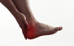 Dolor masculino del pie Foto de archivo