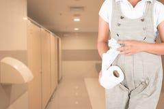 Dolor urinario de las mujeres embarazadas Foto de archivo libre de regalías