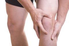 Dolor y lesión de la rodilla foto de archivo