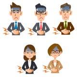 Dolore addominale dell'impiegato di concetto maschio e femminile illustrazione di stock