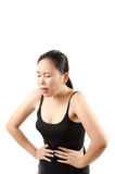 Dolore addominale della donna. Fotografia Stock Libera da Diritti