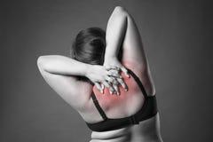 Dolore al collo e della parte posteriore, donna grassa con il mal di schiena, ente femminile di peso eccessivo su fondo grigio Immagini Stock