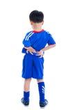 Dolore alla schiena Bambino che sfrega i muscoli del suo più lombo-sacrale Fotografia Stock
