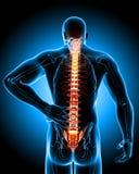 Dolore alla schiena maschio illustrazione vettoriale