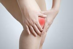 Dolore del ginocchio della donna Immagine Stock Libera da Diritti