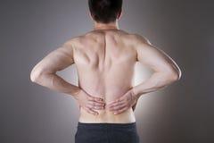 Dolore del rene Uomo con il mal di schiena Dolore nel corpo dell'uomo Immagine Stock Libera da Diritti
