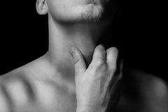 Dolore della gola Immagine Stock