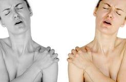 Dolore della spalla Immagine Stock