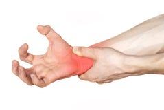Dolore delle mani nel colore rosso Fotografia Stock