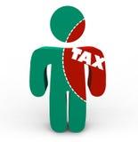 Dolore delle tasse - ritaglio di imposta della persona Fotografia Stock