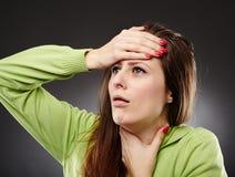Dolore ed influenza della gola Immagini Stock Libere da Diritti