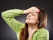 Dolore ed influenza della gola Fotografie Stock Libere da Diritti