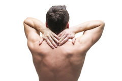 Dolore nel collo Uomo con il mal di schiena Ente maschio muscolare Isolato su priorità bassa bianca Fotografia Stock Libera da Diritti
