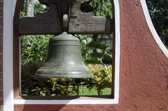 Bell Hanging At Church yard relics archives display stock photo