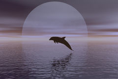 Dolphin. And full moon Royalty Free Illustration