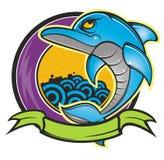 Dolphin. Cartoon style dolphin pattern design background Stock Photo