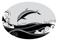 Dolphin. Vector dolphin and sea. Grahic image Royalty Free Stock Image