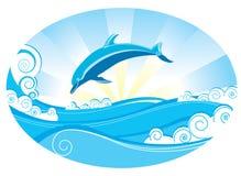 Dolphin. Vector dolphin and blue sea Royalty Free Stock Photos