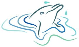 Dolphin. Line art cartoon image Royalty Free Stock Photography