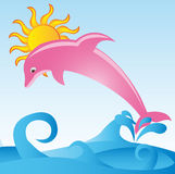 Dolphin. Pink dolphin with sea and sun over sky background. vector Royalty Free Stock Image