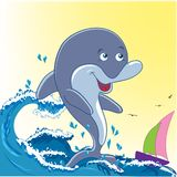 Dolphin. And sea. Summer background Royalty Free Stock Images