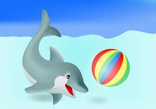 Dolphin. Adorable dolphin playing with ball Stock Image