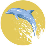 Dolphin. Computer made illustration of a dolphin jumping off the water stock illustration
