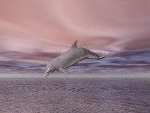 Dolphin. Illustrated dolphin jumping out of the sea Royalty Free Stock Image