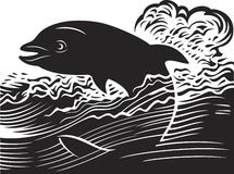 Dolphin. Vector illustration of the dolphin jumping out of water Stock Photography