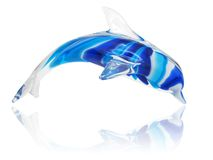 Dolphin. Coloured glass dolphin on white background Stock Photo