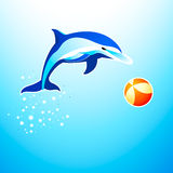 Dolphin. Playing with the ball Stock Photography