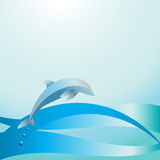 Dolphin above the wave. Graphic depiction of a dolphin above the sea wave Stock Photography