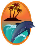 Dolphin against tropical island in a wooden frame. Royalty Free Stock Image