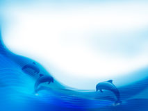 Dolphin background. Blue background with dolphin motif - illustration Royalty Free Stock Images