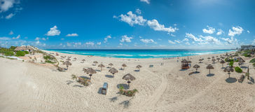 Dolphin Beach panorama, Cancun, Mexico. Panorama of Dolphin Beach panorama, Cancun, Mexico Royalty Free Stock Image
