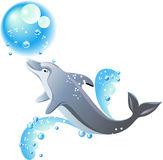 Dolphin and blue waves. Dolphin, bubbles and blue waves  on white background Royalty Free Stock Photos