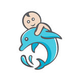 Dolphin and boy Stock Photos
