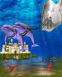Dolphin carriage. Dolphins swimming in the ocean with a sheel carriage royalty free illustration