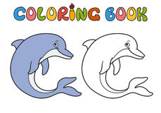 Dolphin cartoon. Coloring book. dolphin cartoon,  part of the collection of marine life Royalty Free Stock Images